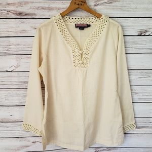 Vineyard Vines Ivory Gauze Embroidered Tunic Top